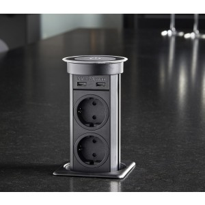 pop-up stekkerdoos 2x230v usb+QI lader