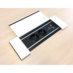 Power frame cover 2x stopcontact en dubbele USB lader